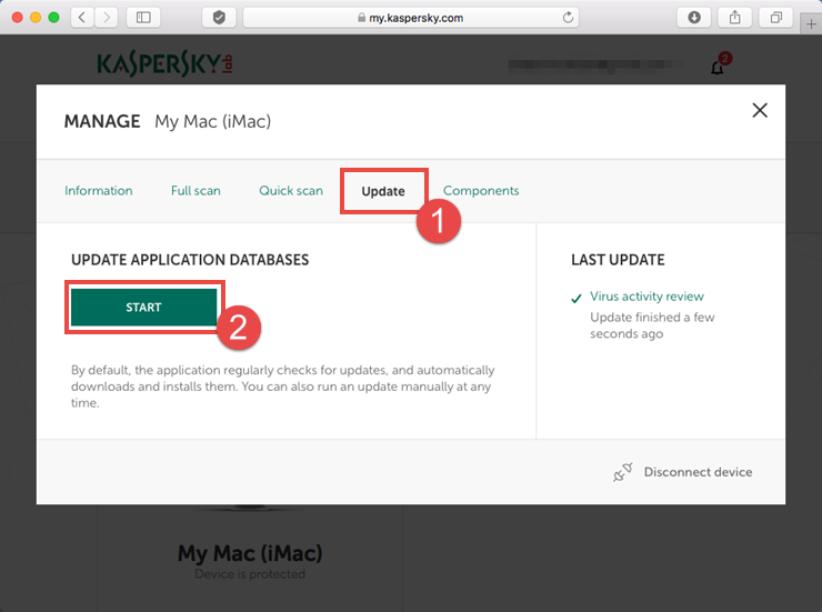 Image: updating databases via the My Kaspersky web portal