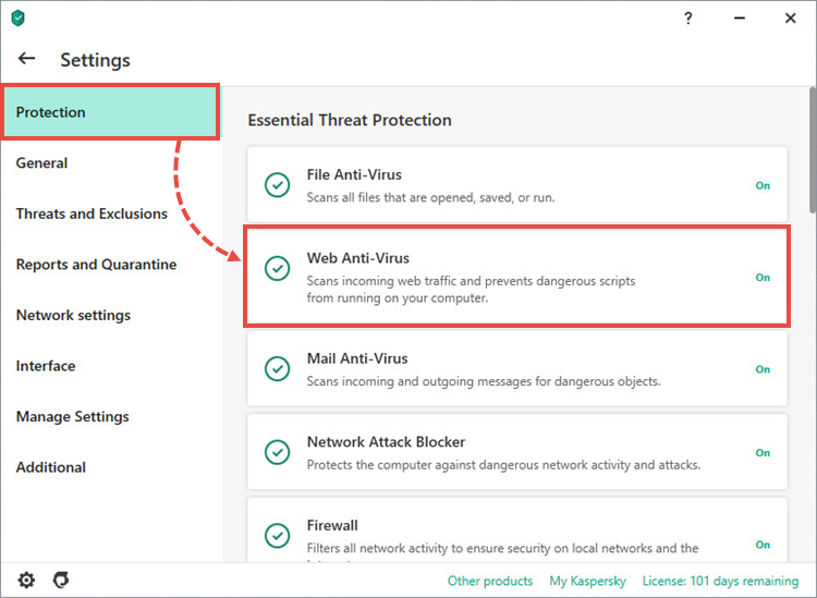 The protection settings in a Kaspersky application