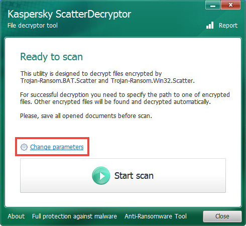 Opening the scan settings of ScatterDecryptor