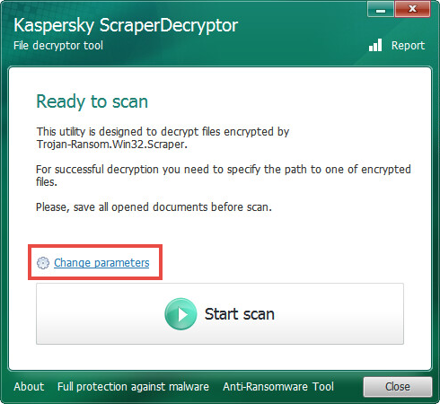 Opening the scan settings of ScraperDecryptor