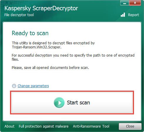Running a scan in ScraperDecryptor
