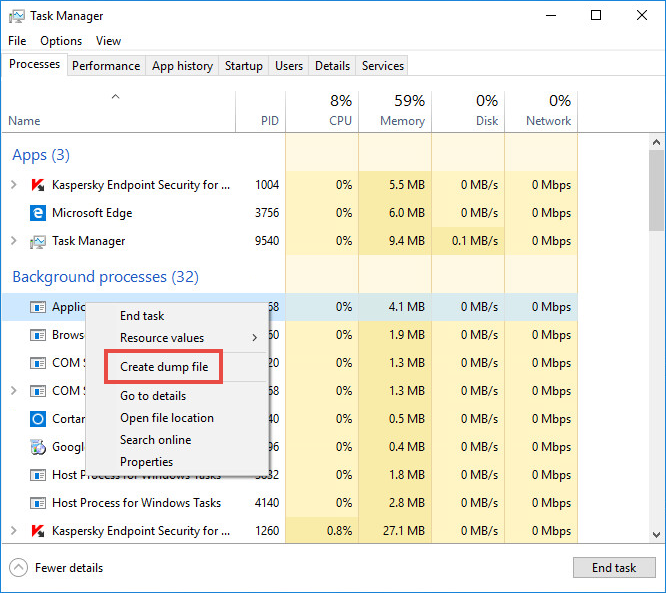 Getting a process dump in Microsoft Windows 10