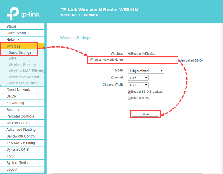 Changing the network name for a TP-Link router