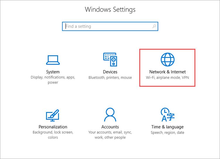 Opening network settings in Windows 10