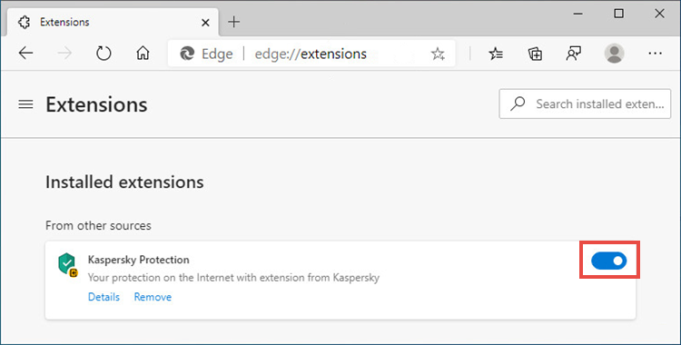 The extensions window with Kaspersky Protection enabled