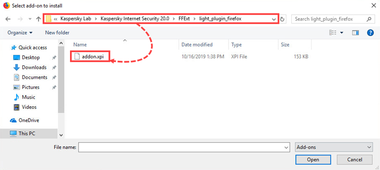 Installing the Kaspersky Protection extension to Mozilla Firefox from the installation file