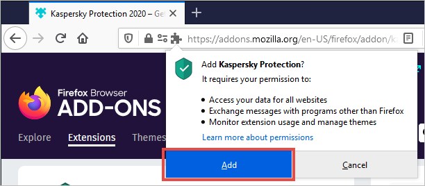 The Kaspersky Protection pop-up with the Add button highlighted.