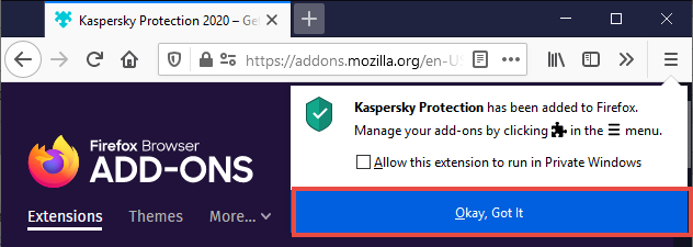 The Kaspersky Protection pop-up with Okay, Got it button highlighted.