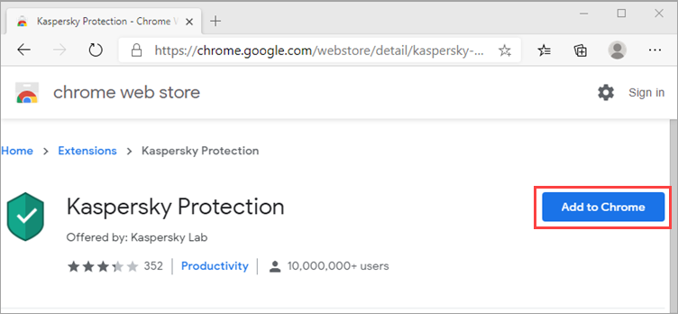 Installing Kaspersky Protection extension in Edge based on Chromium