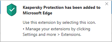 Successful installation of Kaspersky Protection in Edge based on Chromium