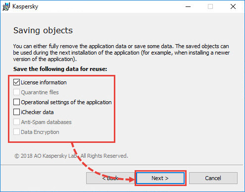 Selecting objects to save before removing a Kaspersky Lab application