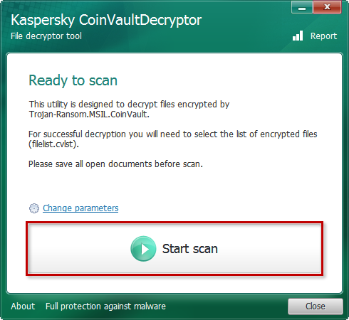Starting a scan in the Kaspersky CoinVaultDecryptor tool