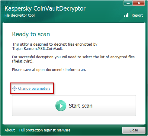 Changing parameters in the Kaspersky CoinVaultDecryptor tool