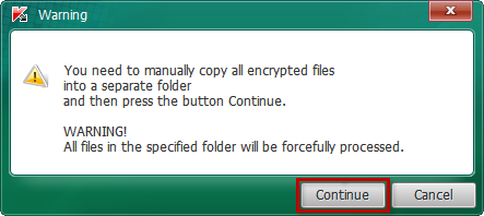 Continuing the scan after the warning in Kaspersky CoinVaultDecryptor