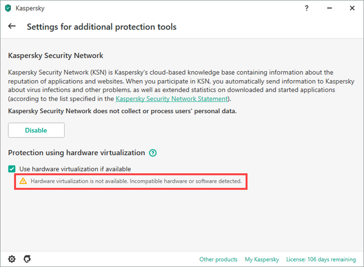 Hardware virtualization status in Kaspersky application version 20