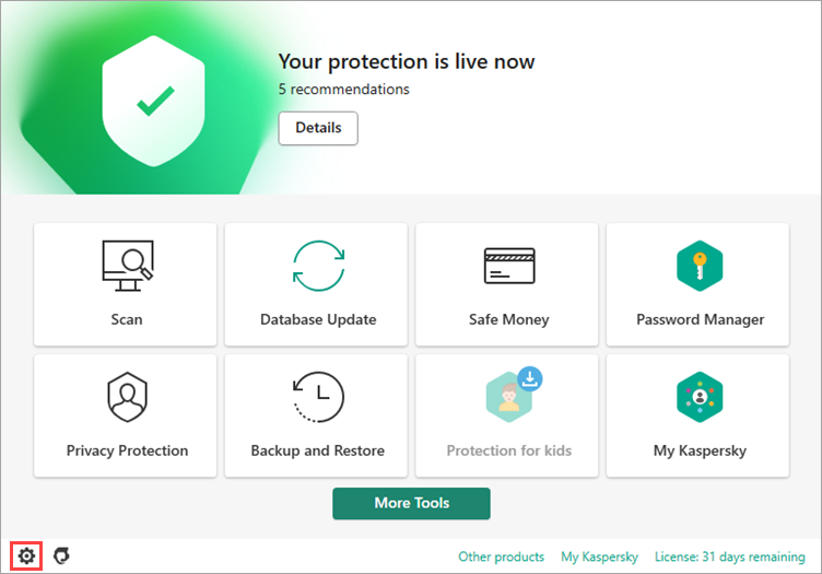 The main application window of a Kaspersky application