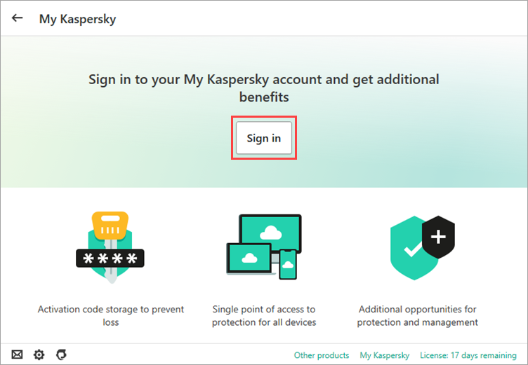 Connect to My Kaspersky window