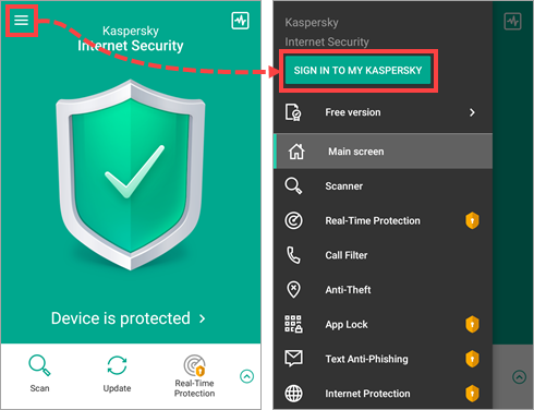 Kaspersky Internet Security for Android main screen