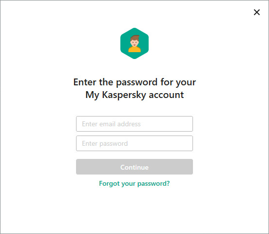 Image: Registration on My Kaspersky portal window in Kaspersky Lab product