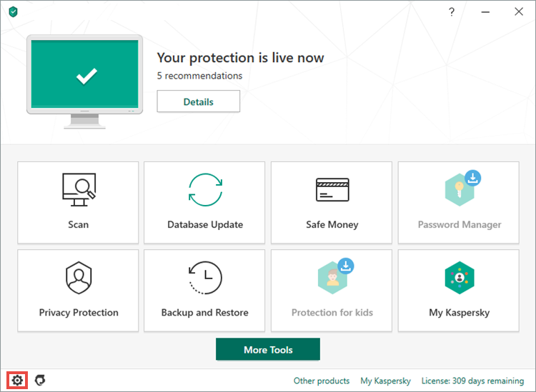 Image: Kaspersky Lab application main window