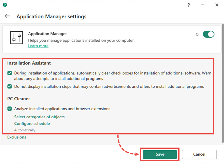 Image: Application Manager settings window in Kaspersky Lab product