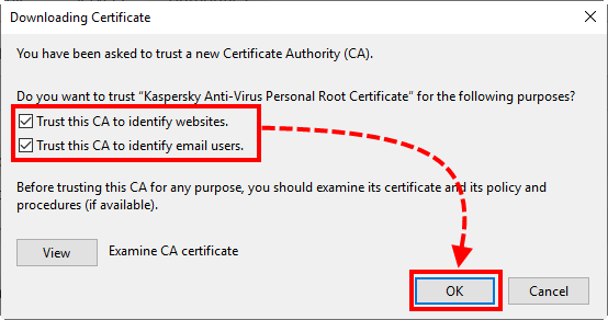 Importing the Kaspersky Lab root certificate to the Mozilla Firefox certificate storage