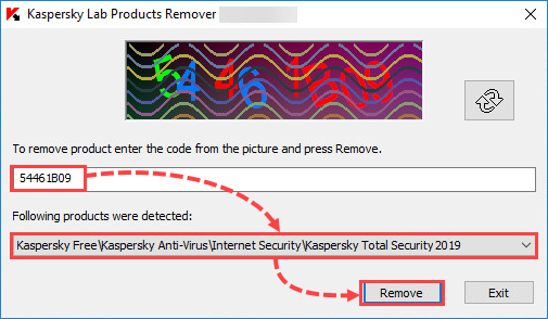 Removing an application with the kavremover tool