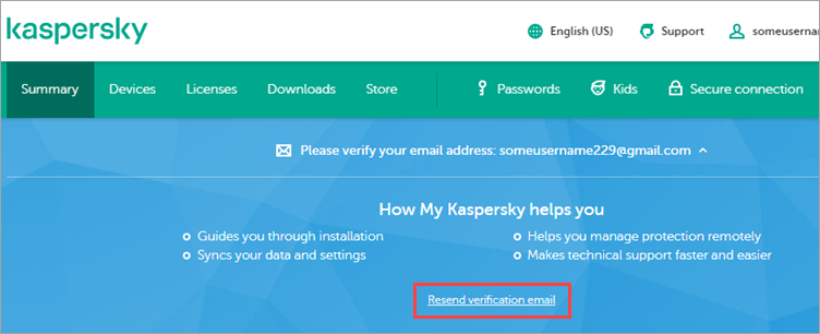 Notification on My Kaspersky for sending a new link