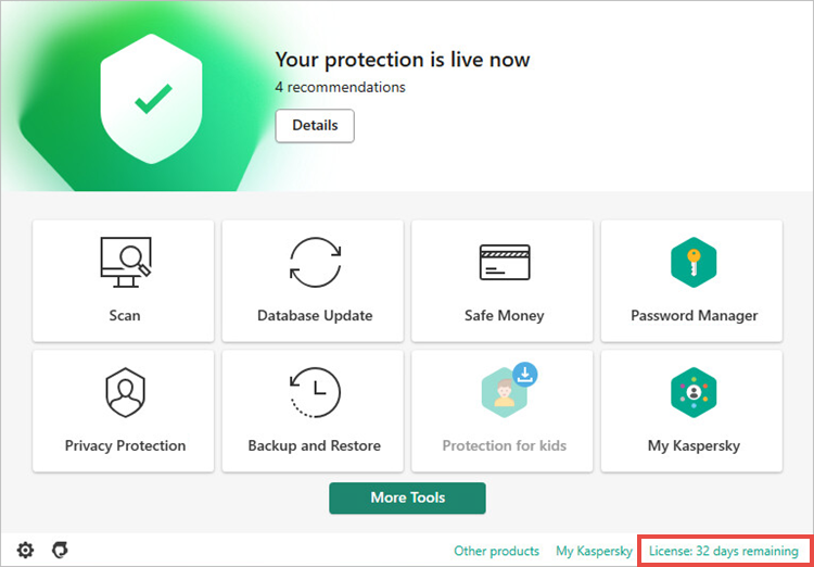 Opening the Licensing window in the trial version of a Kaspersky application