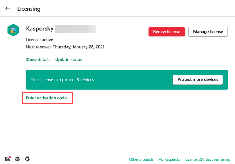Opening the Activation window in the trial version of a Kaspersky application