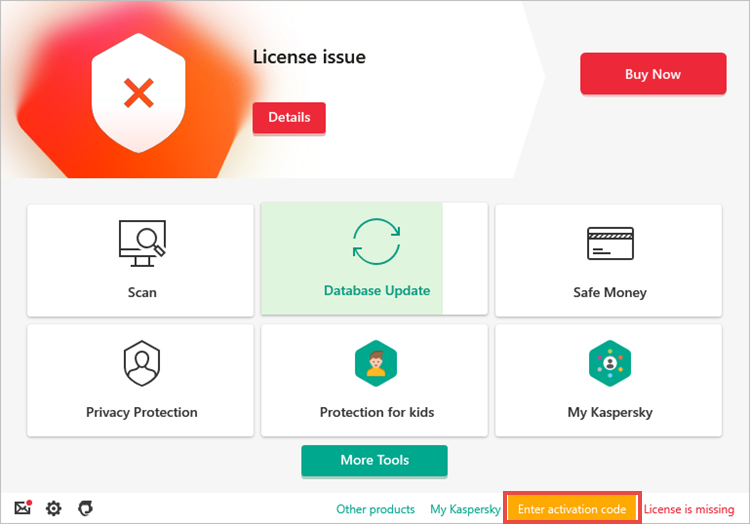 Opening the Activation window in a Kaspersky application if the license is missing