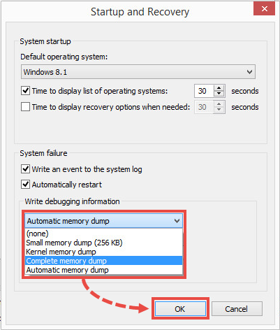 Full memory dump writing settings