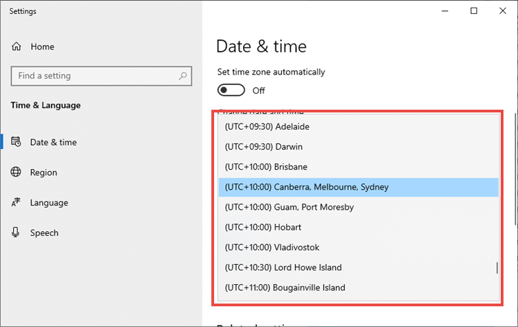 Selecting a time zone in Windows 10.