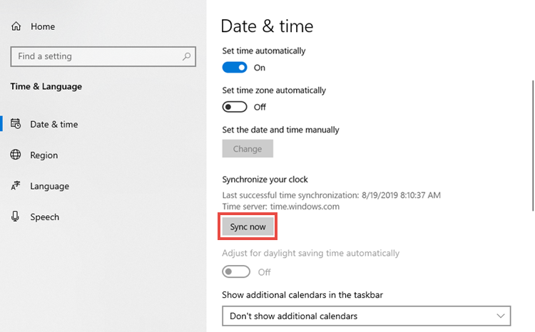 The time and date settings window with the Sync now button highlighted.