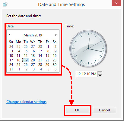 The Date and Time settings window in Windows 8.