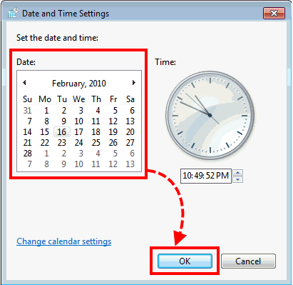 The Date and Time settings window in Windows Vista and Windows 7.