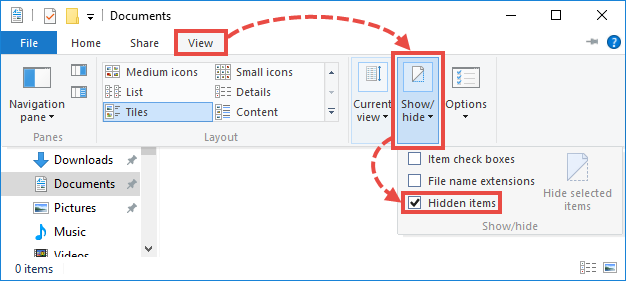 Hidden folders settings in Windows 10