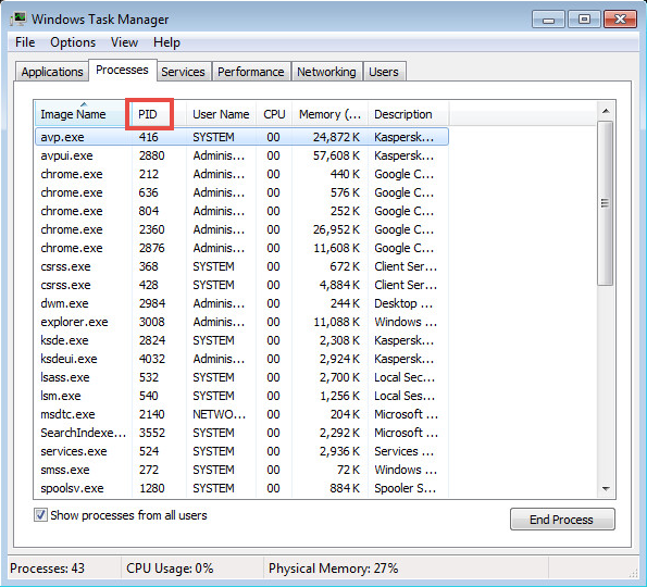 How to get the PID (process ID) of processes running in