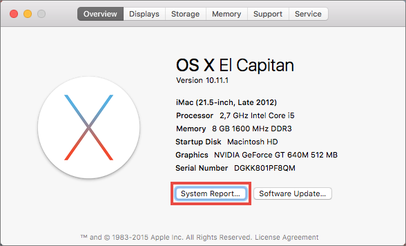Get the report in Mac OS X 10.11