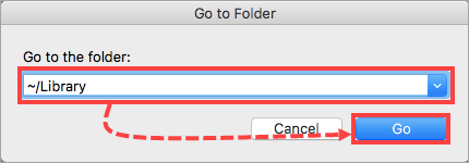 Going to the Library folder in mac OS (OS X)