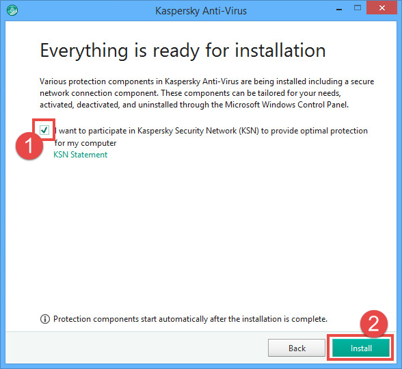 Image: the installation window of Kaspersky Anti-Virus 2018