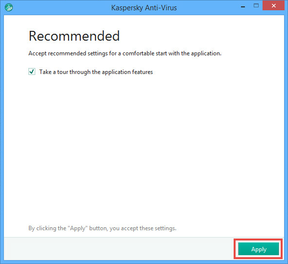 Image: the recommended settings window in Kaspersky Anti-Virus 2018
