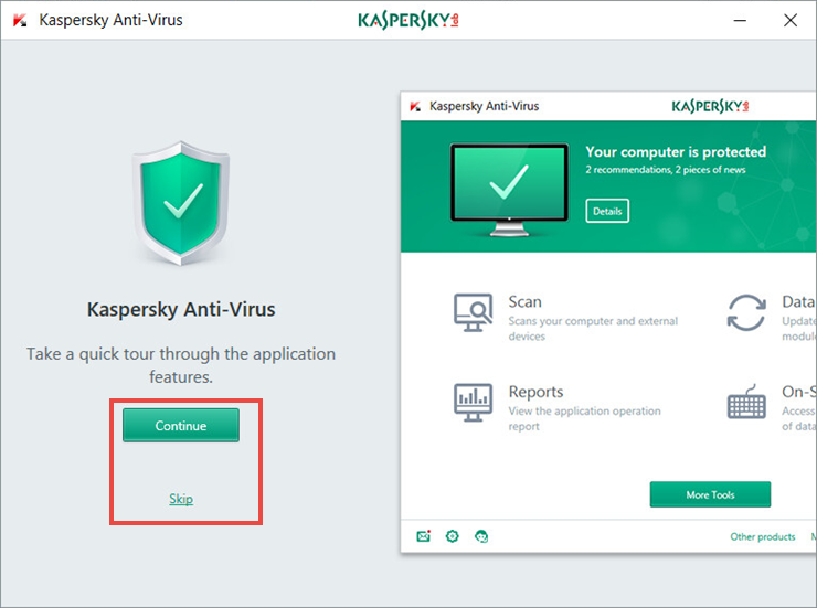 Image: the quick tour window of Kaspersky Anti-Virus 2018
