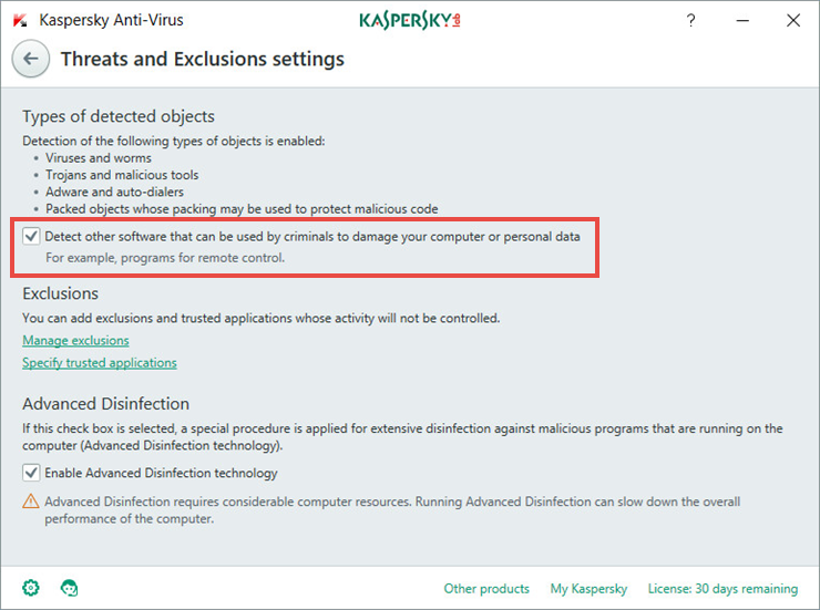 Image: Threats and Exclusions window in Kaspersky Anti-Virus 2018
