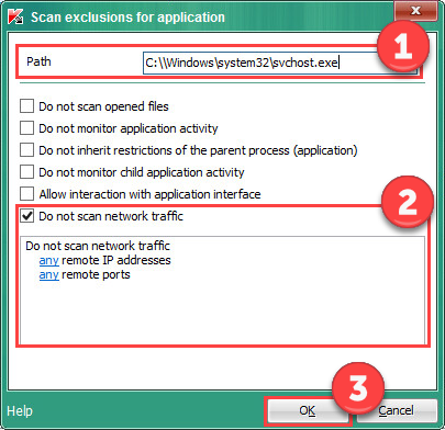 Image: Scan exclusions for applications window