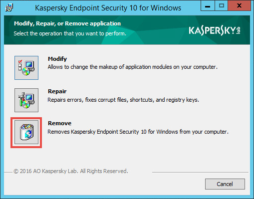 Removing Kaspersky Endpoint Security 10 for Windows
