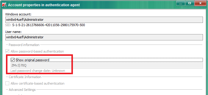 Image: Account properties in authentication agent window