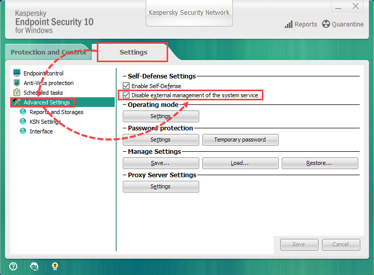 Enabling and disabling the external management of the system service in Kaspersky Endpoint Security 10 for Windows