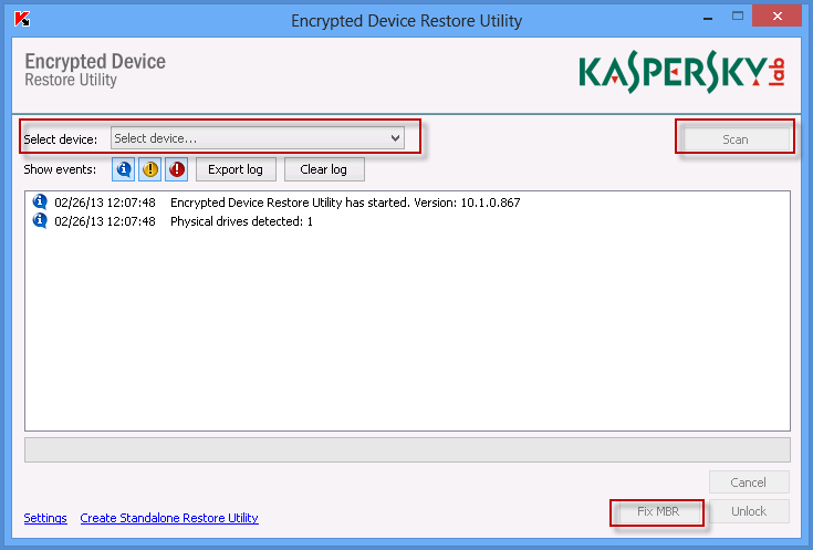 Encrypted Device Restore Utility.