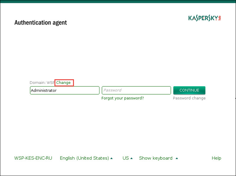 Image: identification in Authentication agent in Kaspersky Endpoint Security 10 for Windows